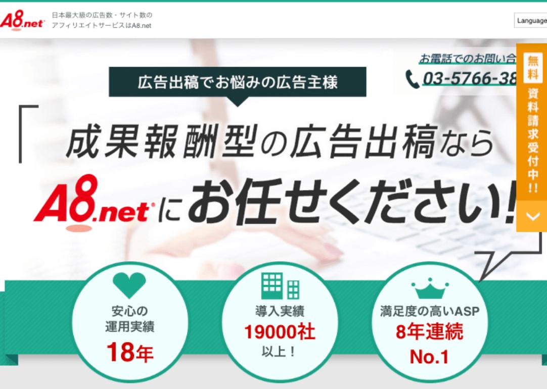 大手ASPのA8.netの登録画面