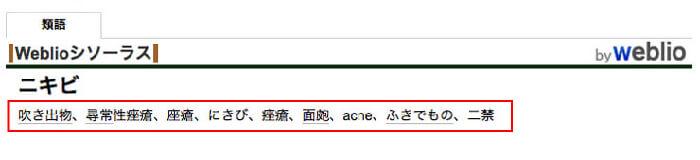 ニキビのweblio検索結果